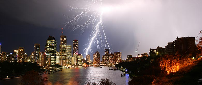 Electrical storm over Brisbane, QLD