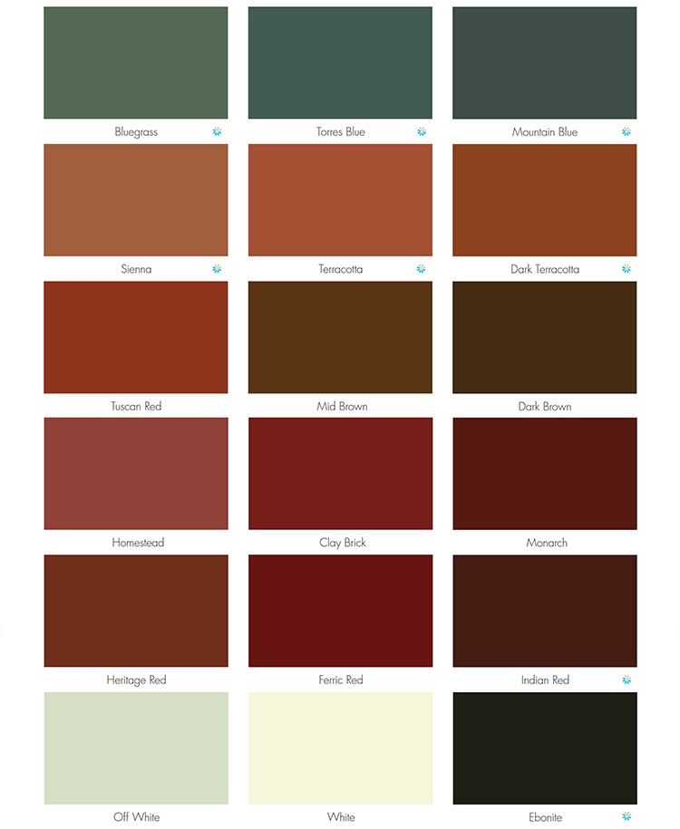 Dulux AcraTex roof paint colour chart